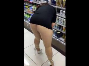 Mini skirt shopping no panties nice big ass.