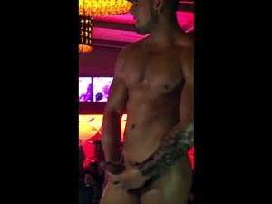 Male stripper jerking cock...