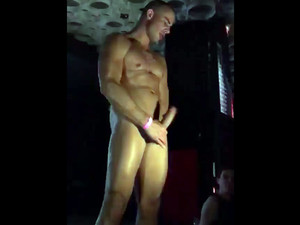 Gay stripper rubs dick at party