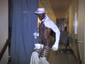 Athletic african guy show...