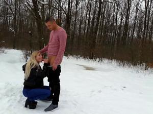 Slender blonde girlfriend fucked outdoors...