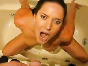 Brunette babe begged for piss