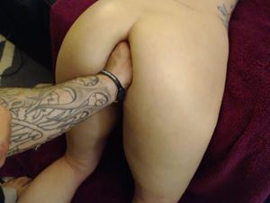 Hubby fisting wife's ass hard...