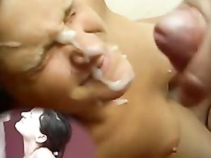 Cum dripping on her face