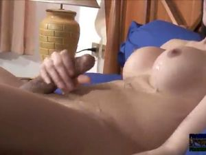 Busty shemale cumming on her tummy on webcam