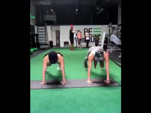 Young female athletes training in the gym