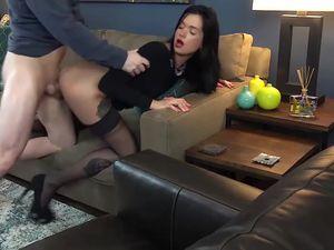 The boss laid down a long-legged secretary...