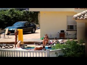 Private nudist pool with sexy damns,...