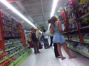Grocery supermarket spy camera upskirt