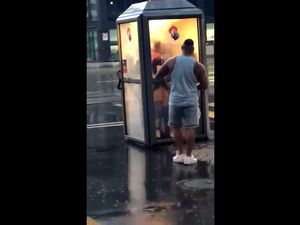 British couple fucks in telephone booth in...