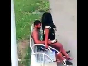 Black couple fucks on park bench not...