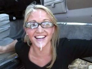 Blonde wife in glasses gets messy facial...