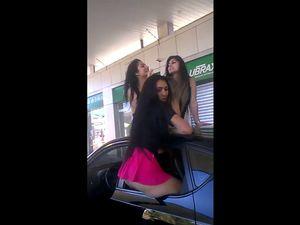 Three slutty girlfriends flashing buttocks...