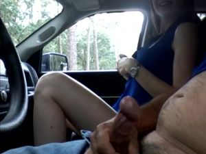 Girl jerking a taxi driver in the car